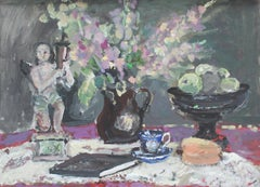 Still life with a figurine - XXI century, Oil painting, Figurative, Grey tones