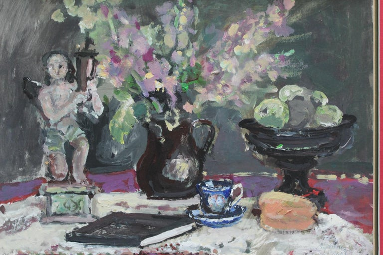 Still life with a figurine - XXI century, Oil painting, Figurative, Grey tones 3
