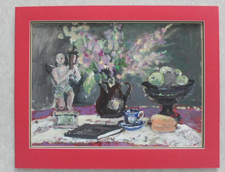 Still life with a figurine - XXI century, Oil painting, Figurative, Grey tones 4
