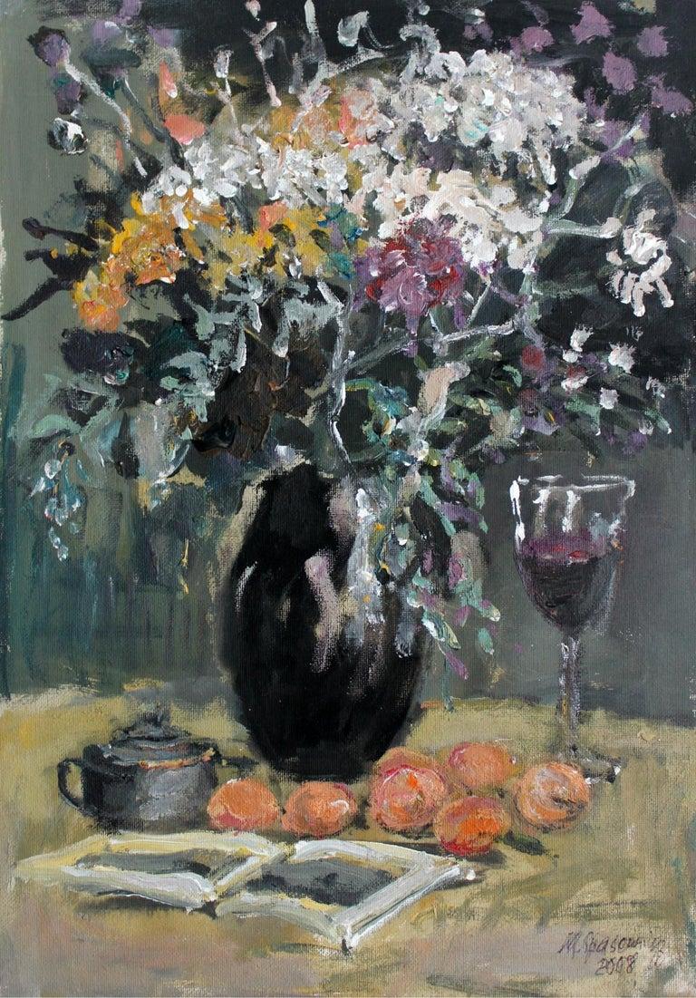 Still life - XXI century, Oil painting, Figurative, Grey tones 1