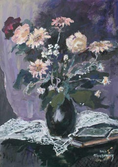 Flowers from the Poniatówka exhibition XXI century Oil painting Figurative Grey