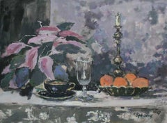 Still life with a candle - XXI century, Oil painting, Figurative, Grey tones