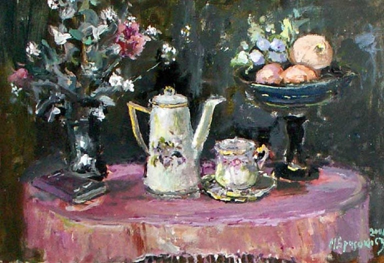 Still life with a teapot - XXI century, Oil painting, Figurative, Grey tones 1