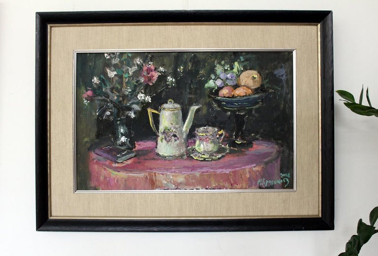 Still life with a teapot - XXI century, Oil painting, Figurative, Grey tones 2