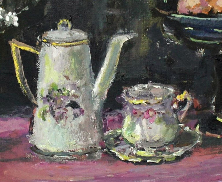 Still life with a teapot - XXI century, Oil painting, Figurative, Grey tones 3