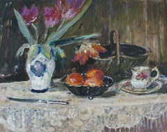 Still life with a cup - XXI century, Oil painting, Figurative, Grey tones