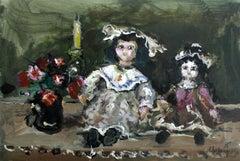 Dolls - XXI century, Oil painting, Figurative, Grey tones, Still life