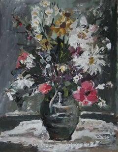 Flowers - XXI century, Oil painting, Figurative, Grey tones, Still life