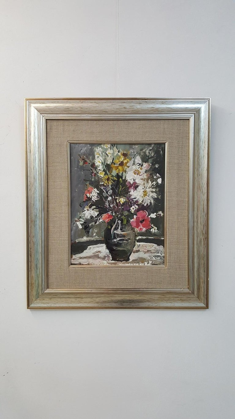 Flowers - XXI century, Oil painting, Figurative, Grey tones, Still life 2