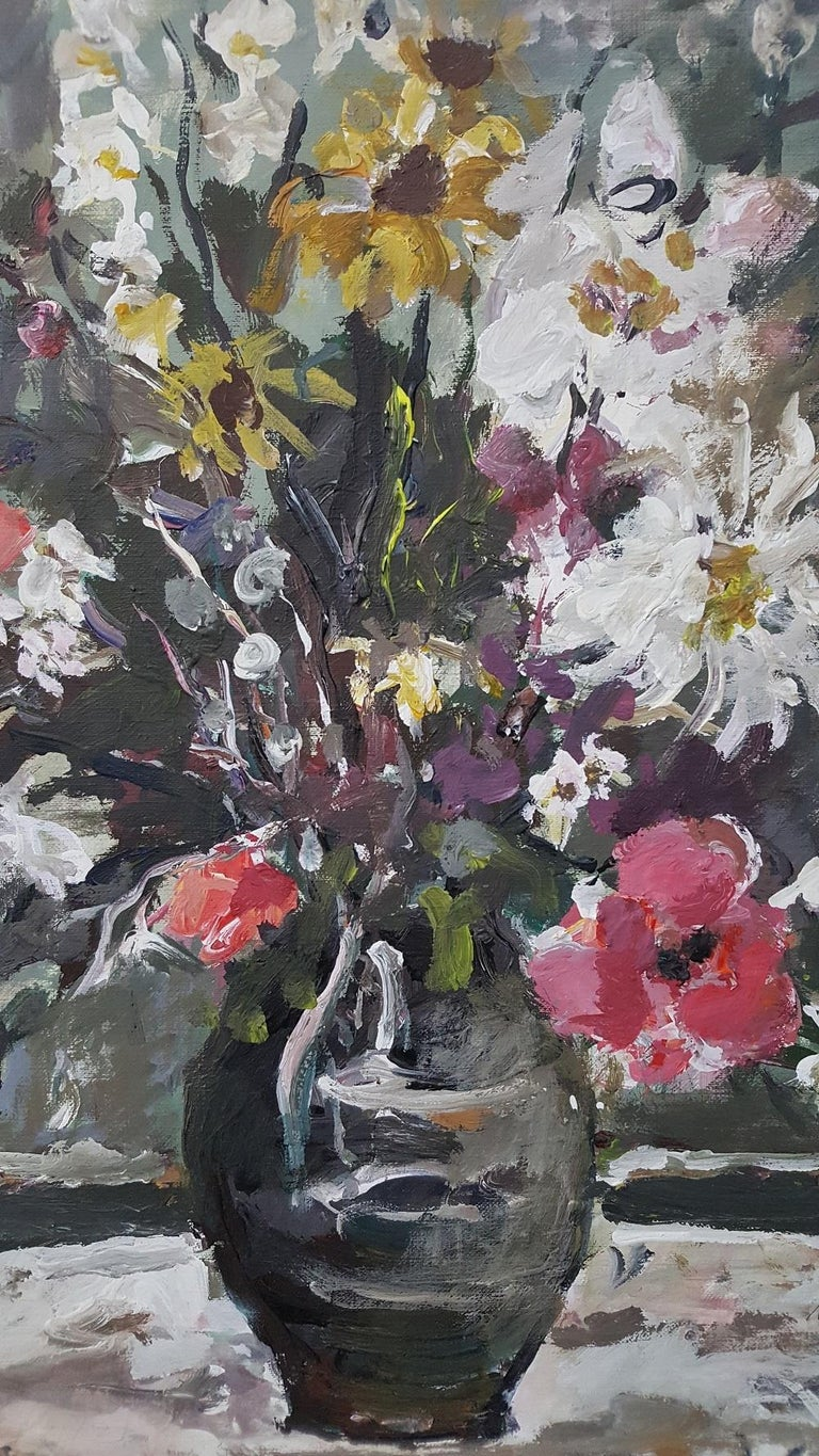 Flowers - XXI century, Oil painting, Figurative, Grey tones, Still life 3