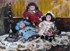 Dolls - XXI century, Oil painting, Figurative, Grey tones, Still life