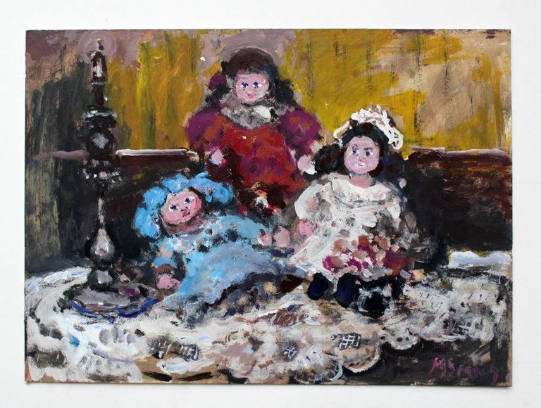 Dolls - XXI century, Oil painting, Figurative, Grey tones, Still life 2