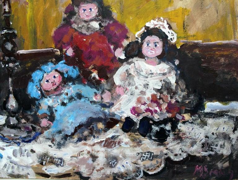 Dolls - XXI century, Oil painting, Figurative, Grey tones, Still life 3