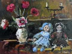 Still life with dolls - XXI century, Oil painting, Figurative, Grey tones