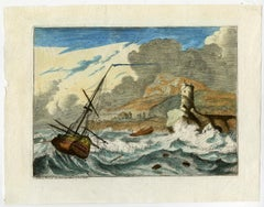 A ship in a storm by Ludolf Bakhuizen - Handcoloured engraving - 18th Century