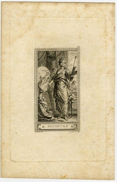 Allegory of painting by Benoit Louis Prevost - Engraving - 18th Century