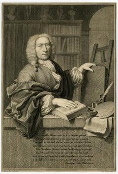 Portrait of Frans van Mieris by Jacobus Houbraken - Engraving - 18th Century