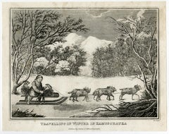 Depiction of a dog sleigh in Kamtsjatka by Robert Roe - Engraving - 19th Century