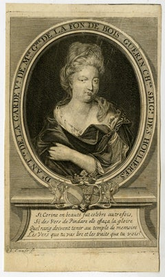 The poet Antoinette Delhoullieres by Lambrecht Cause - Engraving - 18th Century