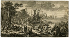 Harbour view with departing galleys by Jacques Rigaud - Etching - 18th Century