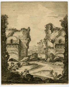 Temple of Neptune at Pozzuoli by Claude Francois Nicole - Etching - 18th Century