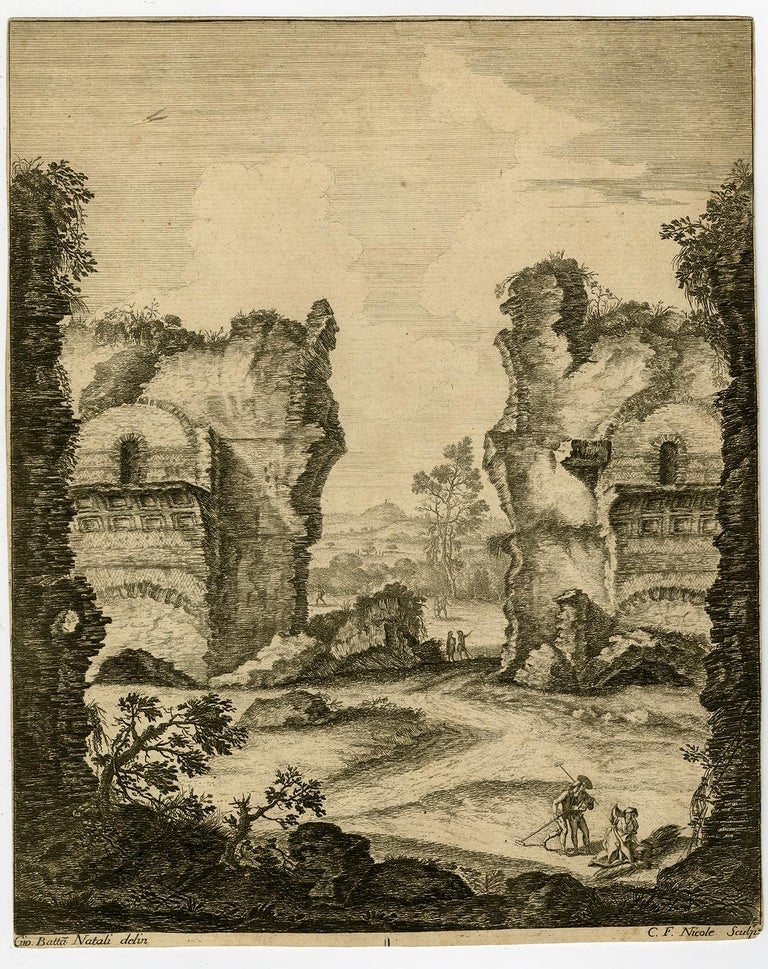 Temple of Neptune at Pozzuoli by Claude Francois Nicole - Etching - 18th Century - Print by Nicole