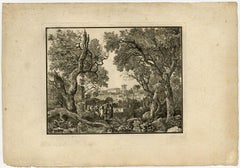 Classical landscape by Jean Francois Thomas de Thomon - Etching - 18th Century