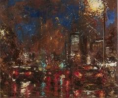 Rainy Road, Painting, Oil on Canvas