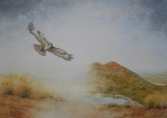 Buzzard over The Malverns, Painting, Watercolor on Watercolor Paper