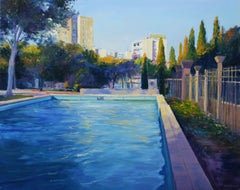 View From The Park, Painting, Oil on Wood Panel