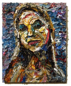 UNTITLED m1070 - Original oil painting portrait, Painting, Oil on Canvas