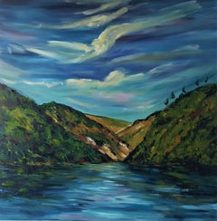 Blue Skies and Autumn colours, Glendalough Lakes, Painting, Oil on Canvas