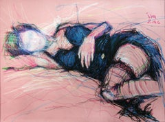 Pink Nude, Drawing, Pastels on Paper