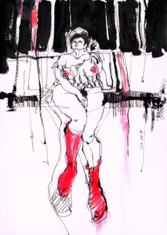 Nude in Red Stockings, Drawing, Pen & Ink on Paper