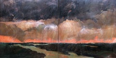 Storm Diptych, Painting, Oil on Wood Panel