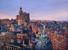 Sunset in Madrid, Painting, Oil on Canvas