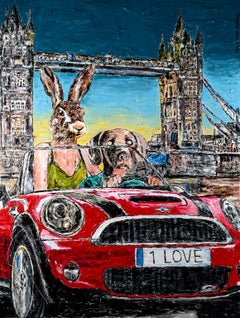 Painting Print - Gillie and Marc - Art - Limited Edition - Love & cars in London