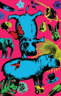 Pop Art - Painting Print - Gillie and Marc - Limited Edition - Hippos and fun