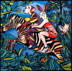 Pop Art - Painting Print - Gillie and Marc - Limited Edition-Rabbit, dog & zebra