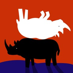 Painting Print - Gillie and Marc - Limited Edition - Art - Rhinos back to back