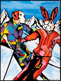 Pop Art - Painting Print - Gillie and Marc - Limited Edition - Skiing together