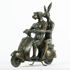 Bronze Sculpture - Vespa - Gillie and Marc - Rabbitwoman and Dogman - Limited Ed