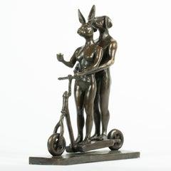 Bronze Sculpture - Art - Gillie and Marc - Dogman & Rabbitwoman - Scooter- Mini