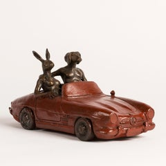 Bronze Sculpture - Art - Gillie and Marc - Dogman & Rabbitwoman- Nude- Car- 2019