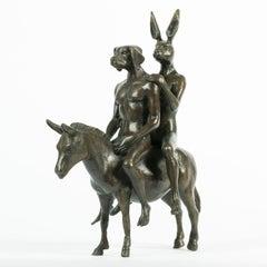 Bronze Sculpture - Art - Gillie and Marc- Dogman&Rabbitwoman - Travellers - Mini