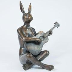 Sculpture - Art - Bronze - Gillie and Marc - Animal - Rabbitwoman- Nude - Guitar