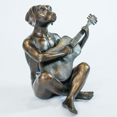 Sculpture - Art - Bronze - Gillie and Marc - Animal - Dogman - Nude - Guitar