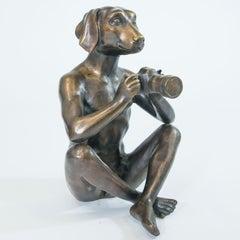 Sculpture - Art - Bronze - Gillie and Marc - Dogman - Nude - Paparazzi Dog -2019