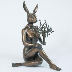 Sculpture - Art - Bronze - Gillie and Marc - Rabbitwoman - Nude - Nature - Tree