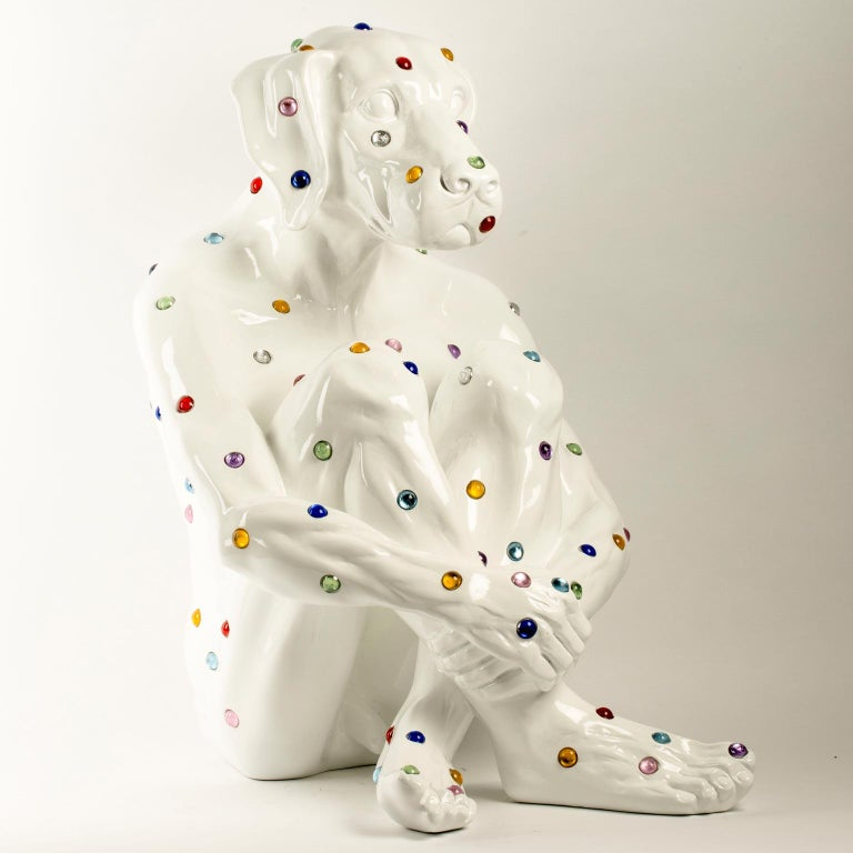 Title: Diamond Dog (white) Authentic fibreglass sculpture Limited Edition  World Famous Contemporary Artists: Husband and wife team, Gillie and Marc, are New York and Sydney-based contemporary artists who collaborate to create artworks as one.